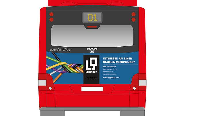 Werbung der LQ Group auf regionalen Bussen